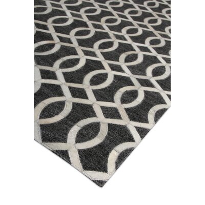 Berlin, Leather/Art Silk, Charcoal/Ivory/Multi (96x136) Area Rug Rug Size: Rectangle 96 x 136