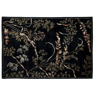 Super Tibetan Hand Knotted Wool/Silk Dark Blue Area Rug Rug Size: Rectangle 9 x 12