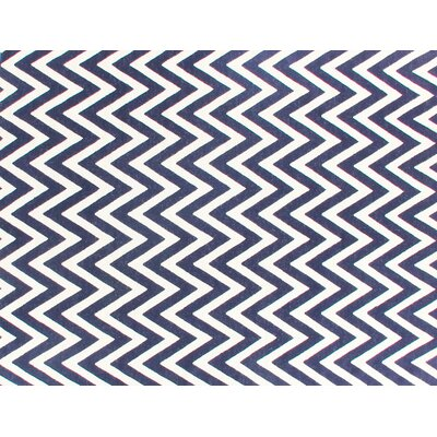 Hand-Woven Wool White/Navy Area Rug Rug Size: Rectangle 12 x 15