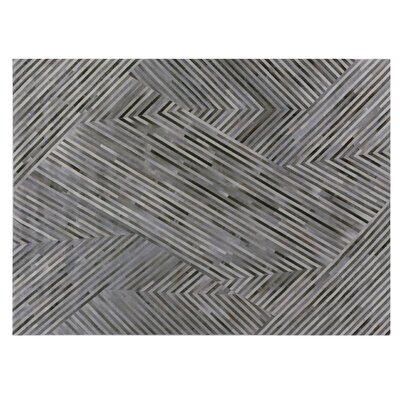 Natural Hide Hand Woven Cowhide Gray/Black Area Rug Rug Size: Rectangle 5 x 8