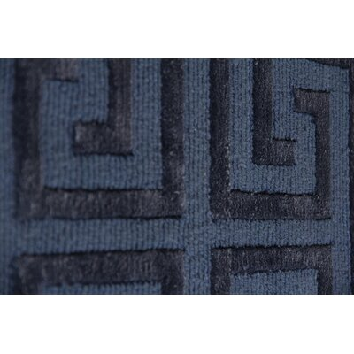 Hand-Knotted Wool/Silk Navy Blue Area Rug Rug Size: Rectangle 9 x 12