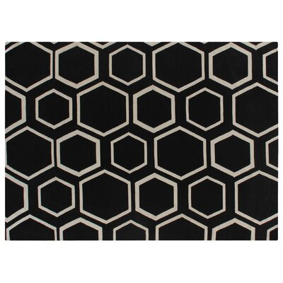 Hand-Woven Wool Black Area Rug Rug Size: Rectangle 8 x 11