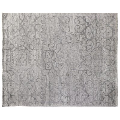 Hand-Knotted Light Silver Area Rug Rug Size: Rectangle 14 x 18