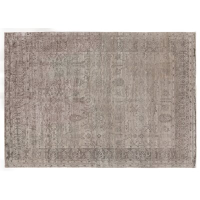 Antiqued Hand-Knotted Silk Silver Area Rug Rug Size: Rectangle 14 x 18