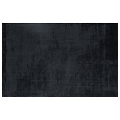 Plain Dove Hand-Woven Silk Black Area Rug Rug Size: Rectangle 5 x 8