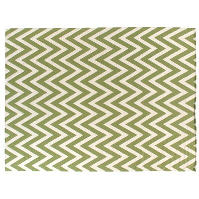 Hand-Woven Wool Light Green/Cream Area Rug Rug Size: Rectangle 5 x 8
