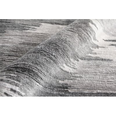 Hand-Knotted Dark Gray Area Rug Rug Size: Rectangle 5 x 8