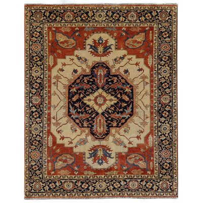 Serapi Hand-Knotted Wool Red/Navy Blue Area Rug Rug Size: Rectangle 14 x 18