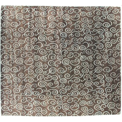 Metropolitan Hand Knotted Wool Brown/Light Blue Area Rug Rug Size: Rectangle 9 x 10