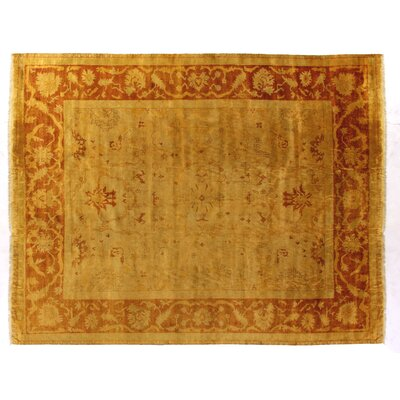 Anatolian Oushak Hand-Knotted Wool Gold/Red Area Rug Rug Size: Rectangle 9 x 10