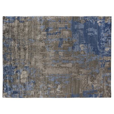 Abstract Expressions Hand-Knotted Silk Blue/Gray Area Rug Rug Size: Rectangle 9 x 12