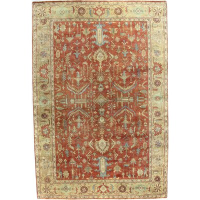 Serapi Hand-Knotted Wool Red/Gold Area Rug Rug Size: Rectangle 9 x 12