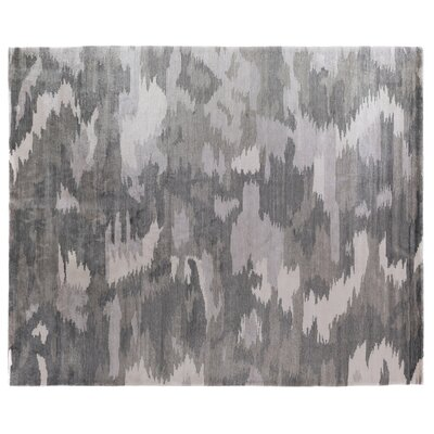 Hand-Knotted Dark Gray Area Rug Rug Size: Rectangle 14 x 18