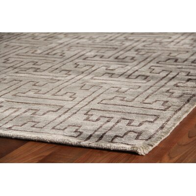 Hand Woven Silk Brown/Gray Area Rug Rug Size: Rectangle 10 x 14