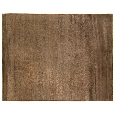 Mosaic Hand Knotted Wool/Silk Chocolate Area Rug Rug Size: Rectangle 15 x 20