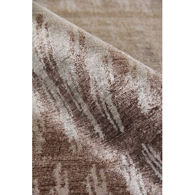 Hand-Knotted Silk Gray/Brown Area Rug Rug Size: Rectangle 12 x 15