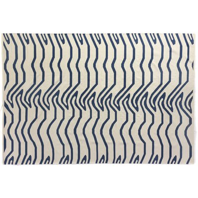 Hand-Woven Wool White/Navy Area Rug Rug Size: Rectangle 96 x 136