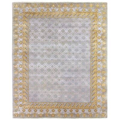 Khotan Hand-Knotted Wool Gray/Gold Area Rug Rug Size: Rectangle 12 x 15