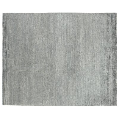 Crush Hand Knotted Silk Aqua/Dark Aqua Area Rug Rug Size: Rectangle 14 x 18