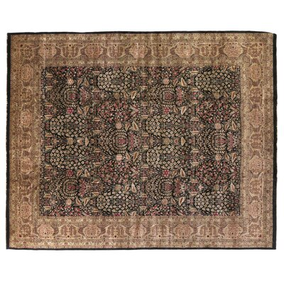 Traditional Hand-Knotted Wool Black/Green Area Rug Rug Size: Rectangle 14 x 18