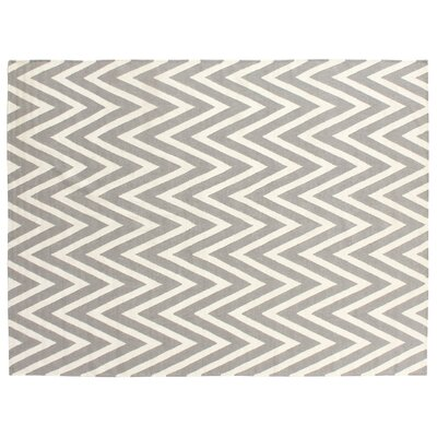 Hand-Woven Wool Gray/Cream Area Rug Rug Size: Rectangle 5 x 8
