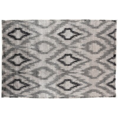 Ikat Hand-Knotted Silk Gray Area Rug Rug Size: Rectangle 10 x 14