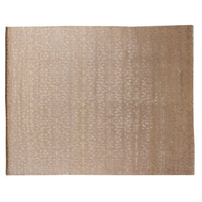 Hand-Knotted Wool/Silk Ivory Area Rug Rug Size: Rectangle 4 x 6