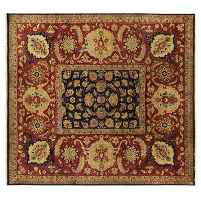 Tabriz Hand Knotted Wool Navy Area Rug Rug Size: Rectangle 9 x 10