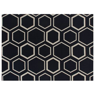 Hand-Woven Wool Navy/White Area Rug Rug Size: Rectangle 8 x 11