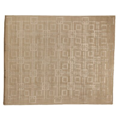 Hand-Knotted Wool/Silk Beige Area Rug Rug Size: Rectangle 12 x 15