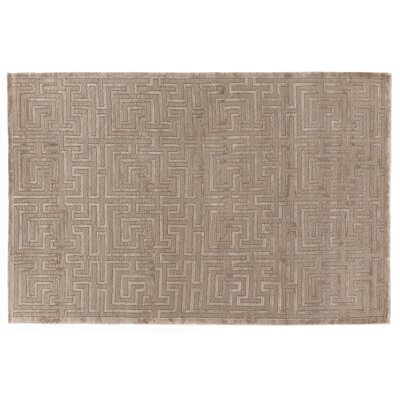 Hand-Knotted Wool Brown Area Rug Rug Size: Rectangle 14 x 18