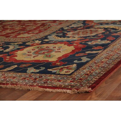 Tabriz Hand Knotted Wool Red Area Rug Rug Size: Rectangle 15 x 20