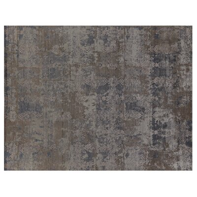 Hundley Hand Knotted Wool/Silk Gray/Turquoise Area Rug Rug Size: Rectangle 14 x 18