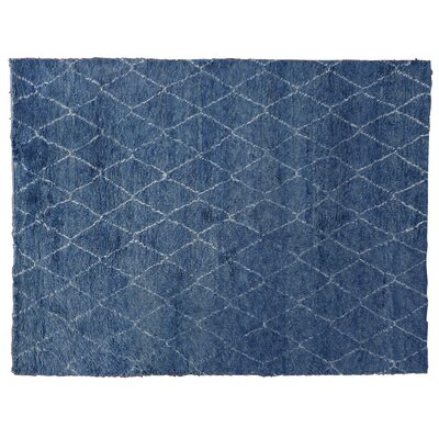 Moroccan Hand Knotted Wool Blue Area Rug Rug Size: Rectangle 9 x 12