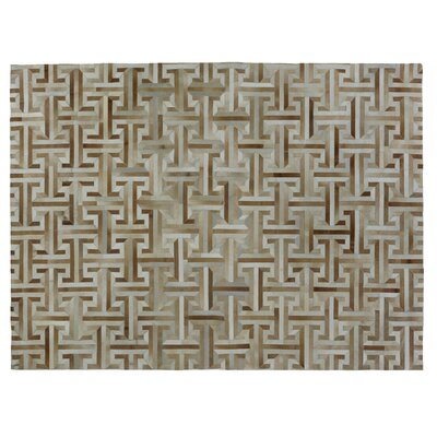 Hand-Knotted Wool/Silk Chocolate/Beige Area Rug Rug Size: Rectangle 6 x 9