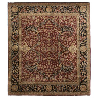Kashan Hand-Knotted Wool Maroon/Black Area Rug