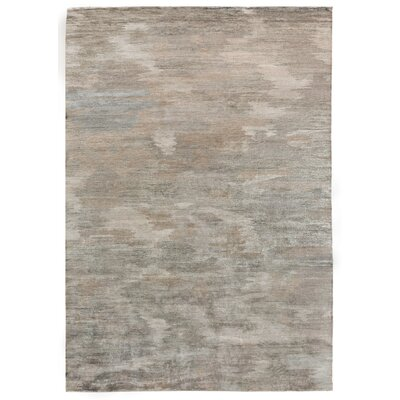 Hand-Knotted Gray/Brown Area Rug Rug Size: Rectangle 14 x 18
