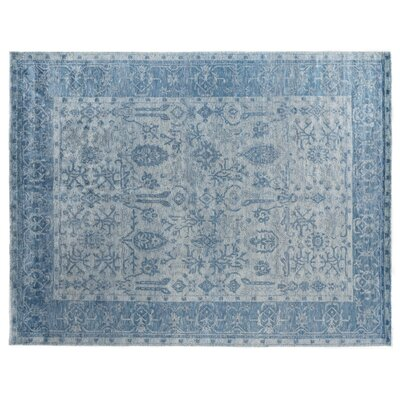 Antiqued Hand-Knotted Silk Ivory/Aqua Area Rug Rug Size: Rectangle 14 x 18