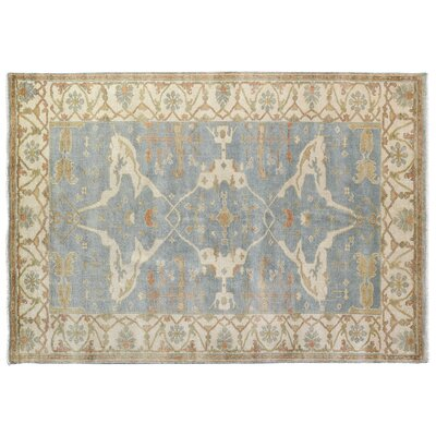 Oushak Hand-Knotted Wool Blue/Ivory Area Rug Rug Size: 14 x 18