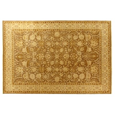 Ziegler Hand-Knotted Wool Gold Area Rug Rug Size: Rectangle 12 x 15