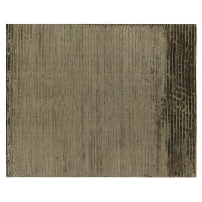 Wave Art Hand-Woven Silk Gray Area Rug Rug Size: Rectangle 4 x 6