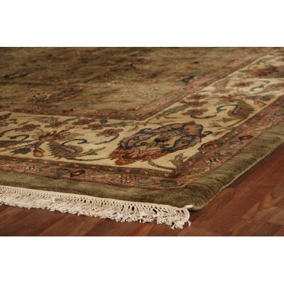 Moghul Hand-Knotted Wool Light Green/Gold Area Rug Rug Size: Rectangle 12 x 18