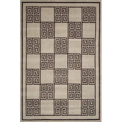 Hand-Knotted Wool/Silk Ivory/Brown Area Rug Rug Size: Rectangle 10 x 14