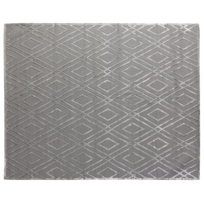 Hand-Knotted Wool/Silk Platinum Area Rug Rug Size: Rectangle 6 x 9