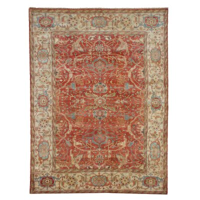 Serapi Hand-Knotted Wool Red/Beige Area Rug Rug Size: Rectangle 8' x 10'