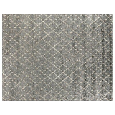 Luxe Look Hand-Knotted Silk Silver Area Rug Rug Size: Rectangle 8 x 10