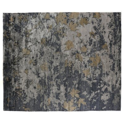 Abstract Expressions Hand-Knotted Silk Dark Gray/Black Area Rug Rug Size: Rectangle 12 x 15