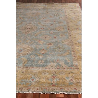 Oushak Hand-Knotted Wool Bluish Gray/Dark Beige Area Rug Rug Size: Rectangle 8 x 10