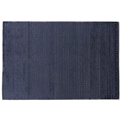 Hand-Knotted Wool/Silk Navy Blue Area Rug Rug Size: Rectangle 14 x 18