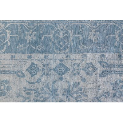 Antiqued Hand-Knotted Silk Ivory/Aqua Area Rug Rug Size: Rectangle 12 x 15